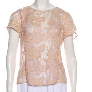 Rebecca Taylor Lace short sleeve blouse top